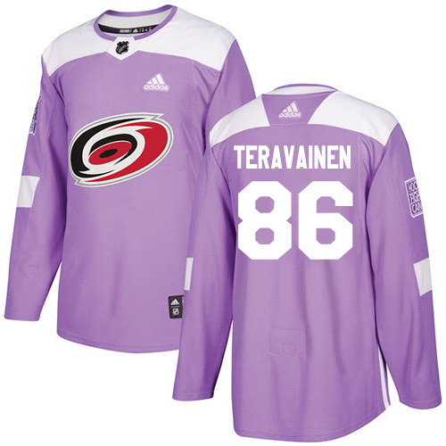 Adidas Hurricanes #86 Teuvo Teravainen Purple Authentic Fights Cancer Stitched NHL Jersey