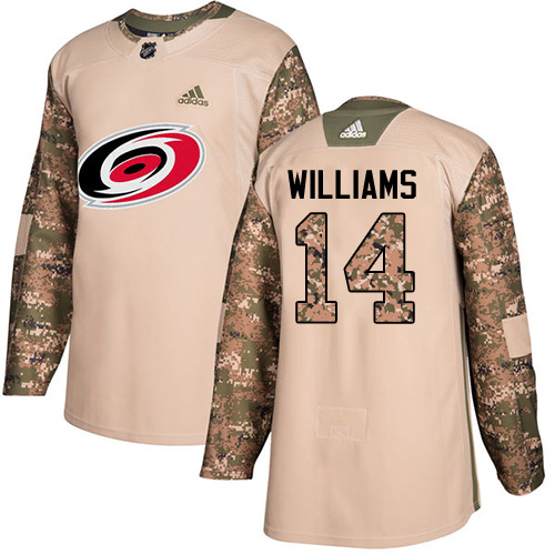 Adidas Hurricanes #14 Justin Williams Camo Authentic 2017 Veterans Day Stitched NHL Jersey