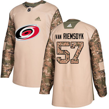Adidas Hurricanes #57 Trevor Van Riemsdyk Camo Authentic 2017 Veterans Day Stitched NHL Jersey