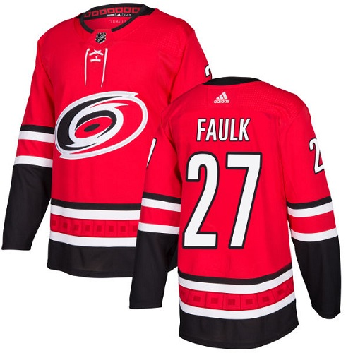 Adidas Hurricanes #27 Justin Faulk Red Home Authentic Stitched NHL Jersey