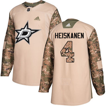 Adidas Stars #4 Miro Heiskanen Camo Authentic 2017 Veterans Day Stitched NHL Jersey