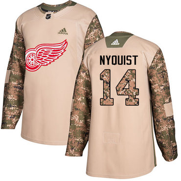 Adidas Red Wings #14 Gustav Nyquist Camo Authentic 2017 Veterans Day Stitched NHL Jersey