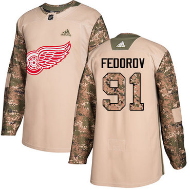 Adidas Red Wings #91 Sergei Fedorov Camo Authentic 2017 Veterans Day Stitched NHL Jersey