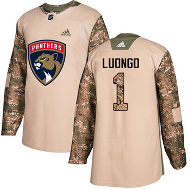 Adidas Panthers #1 Roberto Luongo Camo Authentic 2017 Veterans Day Stitched NHL Jersey