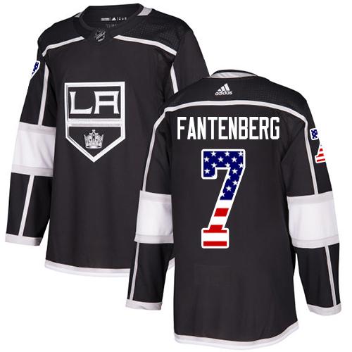 Adidas Kings #7 Oscar Fantenberg Black Home Authentic USA Flag Stitched NHL Jersey
