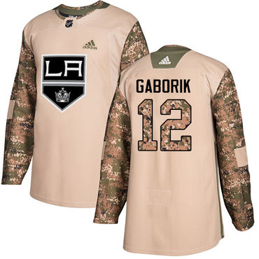 Adidas Kings #12 Marian Gaborik Camo Authentic 2017 Veterans Day Stitched NHL Jersey