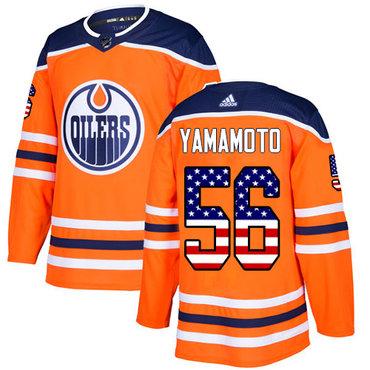 Adidas Oilers #56 Kailer Yamamoto Orange Home Authentic USA Flag Stitched NHL Jersey