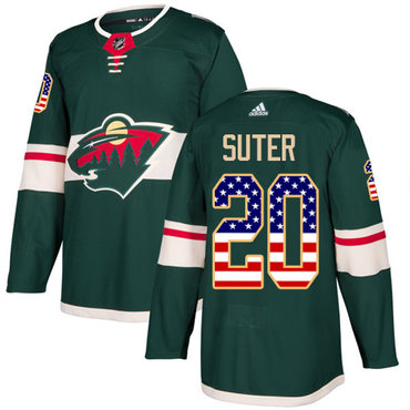 Adidas Wild #20 Ryan Suter Green Home Authentic USA Flag Stitched NHL Jersey