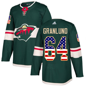 Adidas Wild #64 Mikael Granlund Green Home Authentic USA Flag Stitched NHL Jersey