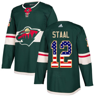 Adidas Wild #12 Eric Staal Green Home Authentic USA Flag Stitched NHL Jersey