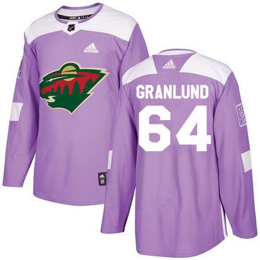 Adidas Wild #64 Mikael Granlund Purple Authentic Fights Cancer Stitched NHL Jersey