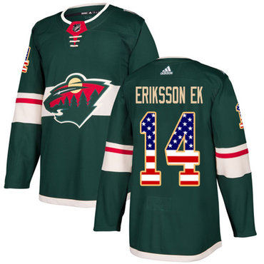 Adidas Wild #14 Joel Eriksson Ek Green Home Authentic USA Flag Stitched NHL Jersey