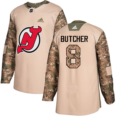 Adidas Devils #8 Will Butcher Camo Authentic 2017 Veterans Day Stitched NHL Jersey