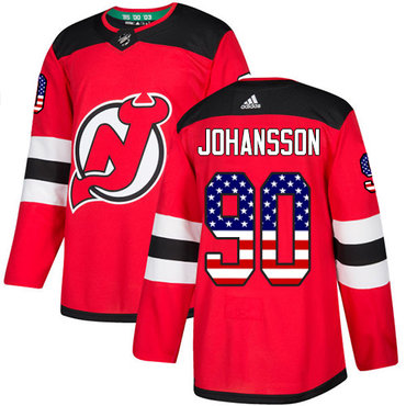 Adidas Devils #90 Marcus Johansson Red Home Authentic USA Flag Stitched NHL Jersey