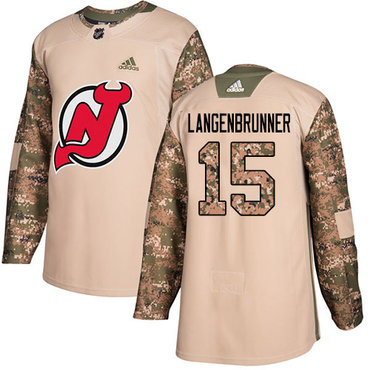 Adidas Devils #15 Langenbrunner Camo Authentic 2017 Veterans Day Stitched NHL Jersey