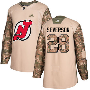 Adidas Devils #28 Damon Severson Camo Authentic 2017 Veterans Day Stitched NHL Jersey