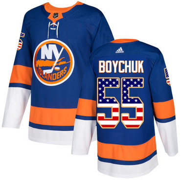 Adidas Islanders #55 Johnny Boychuk Royal Blue Home Authentic USA Flag Stitched NHL Jersey