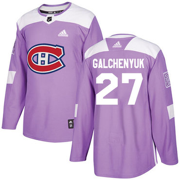 Adidas Canadiens #27 Alex Galchenyuk Purple Authentic Fights Cancer Stitched NHL Jersey