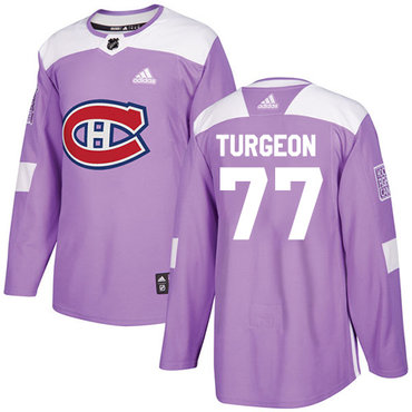 Adidas Canadiens #77 Pierre Turgeon Purple Authentic Fights Cancer Stitched NHL Jersey