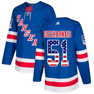 Adidas Rangers #51 David Desharnais Royal Blue Home Authentic USA Flag Stitched NHL Jersey