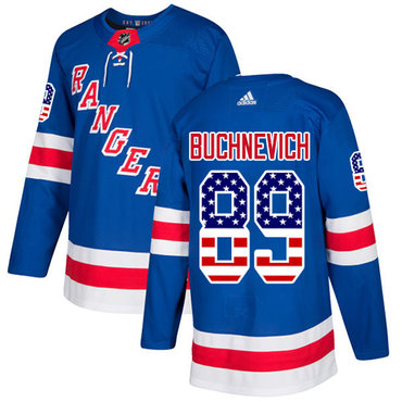 Adidas Rangers #89 Pavel Buchnevich Royal Blue Home Authentic USA Flag Stitched NHL Jersey
