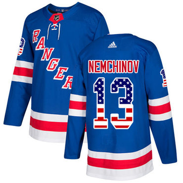 Adidas Rangers #13 Sergei Nemchinov Royal Blue Home Authentic USA Flag Stitched NHL Jersey