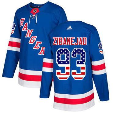 Adidas Rangers #93 Mika Zibanejad Royal Blue Home Authentic USA Flag Stitched NHL Jersey
