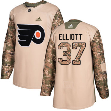 Adidas Flyers #37 Brian Elliott Camo Authentic 2017 Veterans Day Stitched NHL Jersey