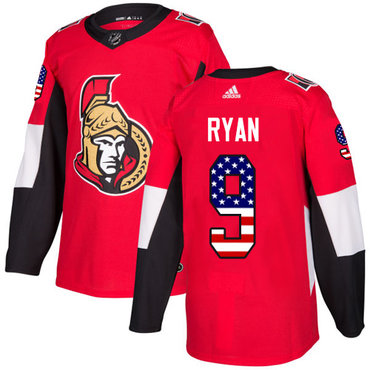 Adidas Senators #9 Bobby Ryan Red Home Authentic USA Flag Stitched NHL Jersey