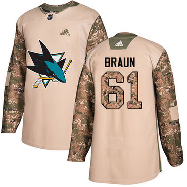 Adidas Sharks #61 Justin Braun Camo Authentic 2017 Veterans Day Stitched NHL Jersey
