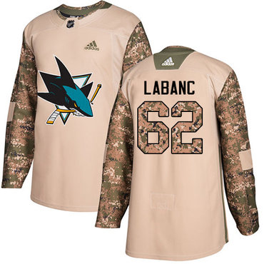 Adidas Sharks #62 Kevin Labanc Camo Authentic 2017 Veterans Day Stitched NHL Jersey