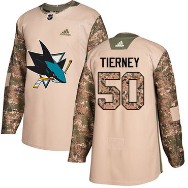 Adidas Sharks #50 Chris Tierney Camo Authentic 2017 Veterans Day Stitched NHL Jersey