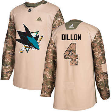 Adidas Sharks #4 Brenden Dillon Camo Authentic 2017 Veterans Day Stitched NHL Jersey