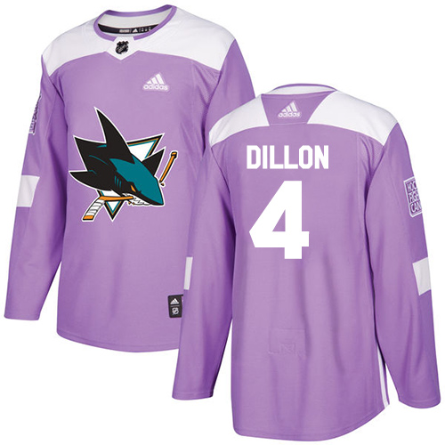 Adidas Sharks #4 Brenden Dillon Purple Authentic Fights Cancer Stitched NHL Jersey