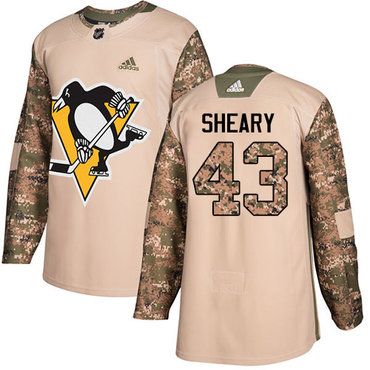 Adidas Penguins #43 Conor Sheary Camo Authentic 2017 Veterans Day Stitched NHL Jersey
