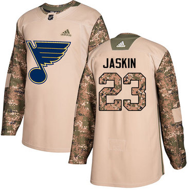 Adidas Blues #23 Dmitrij Jaskin Camo Authentic 2017 Veterans Day Stitched NHL Jersey