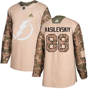 Adidas Lightning #88 Andrei Vasilevskiy Camo Authentic 2017 Veterans Day Stitched NHL Jersey