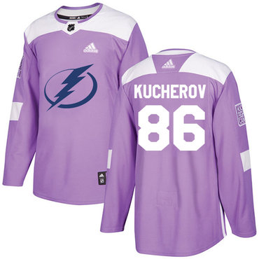 Adidas Lightning #86 Nikita Kucherov Purple Authentic Fights Cancer Stitched NHL Jersey