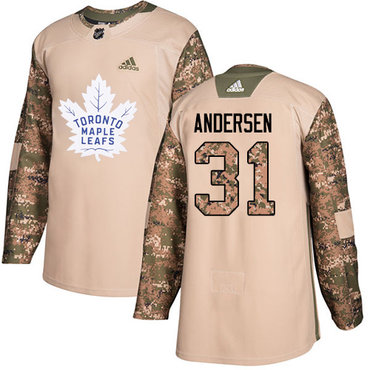 Adidas Maple Leafs #31 Frederik Andersen Camo Authentic 2017 Veterans Day Stitched NHL Jersey