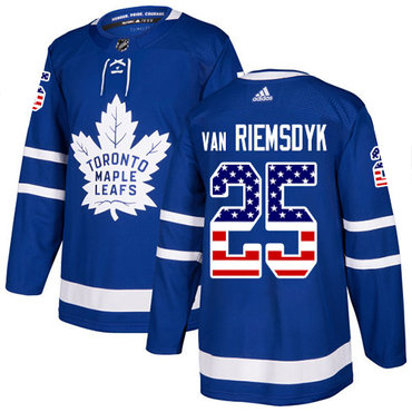 Adidas Maple Leafs #25 James Van Riemsdyk Blue Home Authentic USA Flag Stitched NHL Jersey