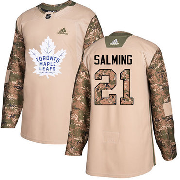 Adidas Maple Leafs #21 Borje Salming Camo Authentic 2017 Veterans Day Stitched NHL Jersey