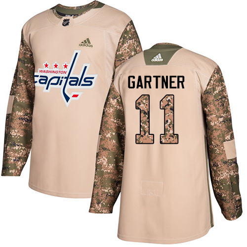 Adidas Capitals #11 Mike Gartner Camo Authentic 2017 Veterans Day Stitched NHL Jersey
