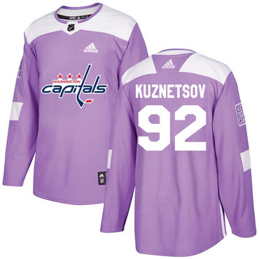Adidas Capitals #92 Evgeny Kuznetsov Purple Authentic Fights Cancer Stitched NHL Jersey