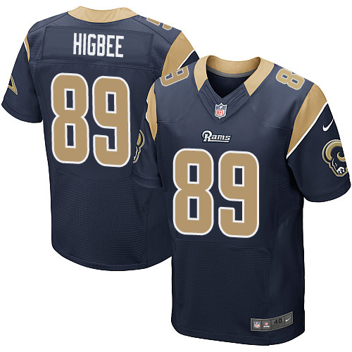 Nike Rams #89 Tyler Higbee Navy Blue Team Color Men's Stitched NFL Elite Jersey