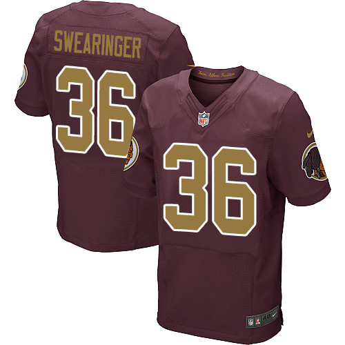 Nike Redskins #36 D.J. Swearinger Burgundy Red Alternate Men's Stitched NFL 80TH Throwback Elite Jersey