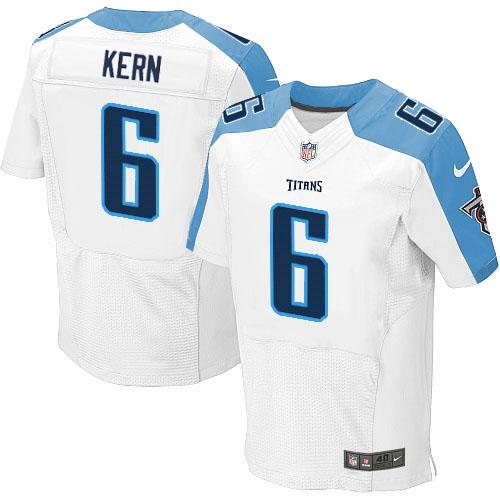 Nike Titans #6 Brett Kern White Men's Stitched NFL Elite Jersey