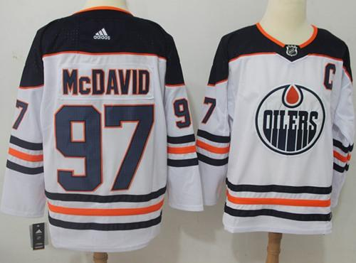 Adidas Oilers #97 Connor McDavid White Road Authentic Stitched NHL Jersey