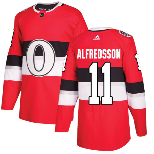 Adidas Senators #11 Daniel Alfredsson Red Authentic 2017 100 Classic Stitched NHL Jersey