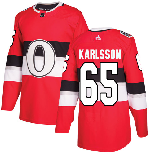Adidas Senators #65 Erik Karlsson Red Authentic 2017 100 Classic Stitched NHL Jersey