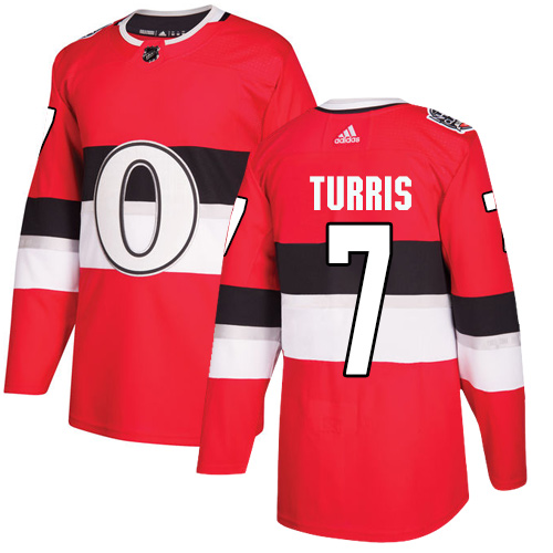Adidas Senators #7 Kyle Turris Red Authentic 2017 100 Classic Stitched NHL Jersey